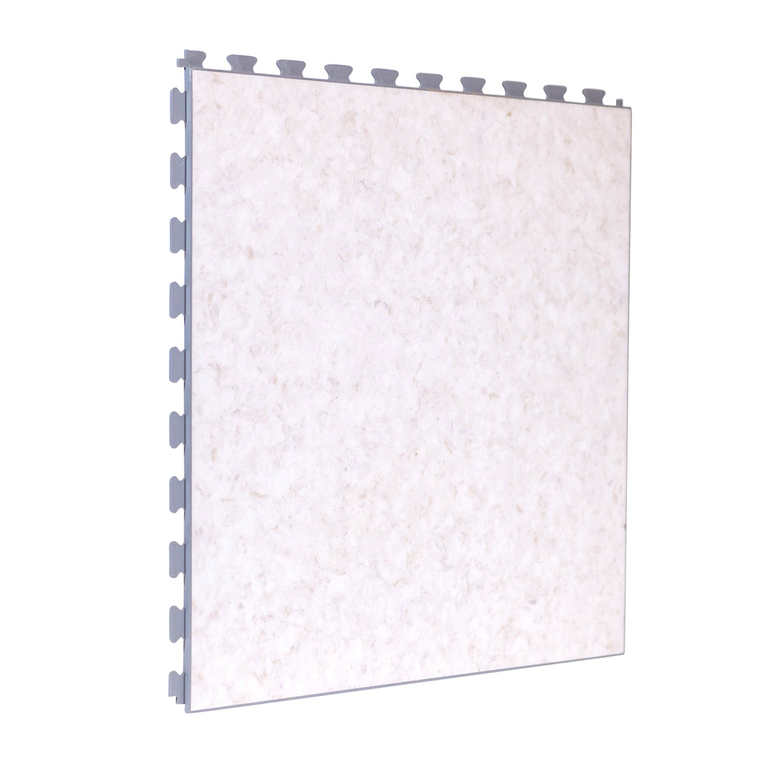 Luxury Vinyl Tile in Premium Limestone Finish with White Grout