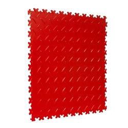 TekTile Chequer Plate Red Finish with Dovetail Interlock - 4mm