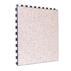 Luxury Vinyl Tile in Premium Cream Terrazzo Colour with Dark Grey Grout - Click for more info
