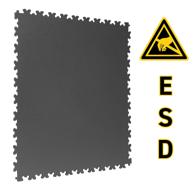 TekTile ESD Flooring, Dark Grey Finish with Dovetail Interlock - 7mm