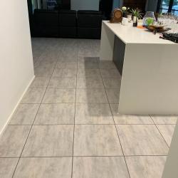 Luxury Vinyl Tile in Premium Granite Finish with Dark Grey Grout