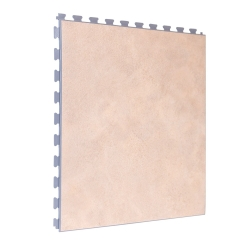 Luxury Vinyl Tile in Premium Light Sandstone with Grey Grout