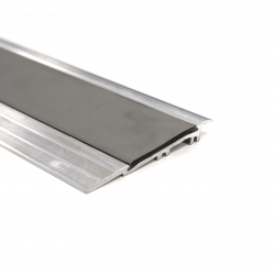 Alumunium Transition Strip For TekTile System with Dark Grey Inserts - 2.5m