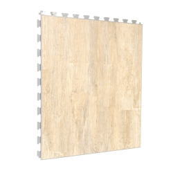 Luxury Vinyl Tile in Vintage Maple Finish with Light Grey Grout